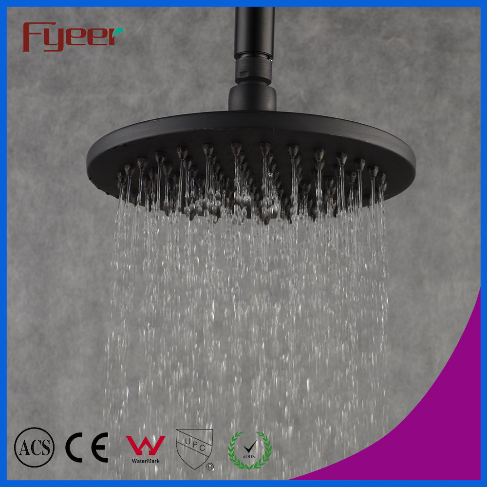 China Antique Brass 8 Inch Round Black Rain Shower Head China
