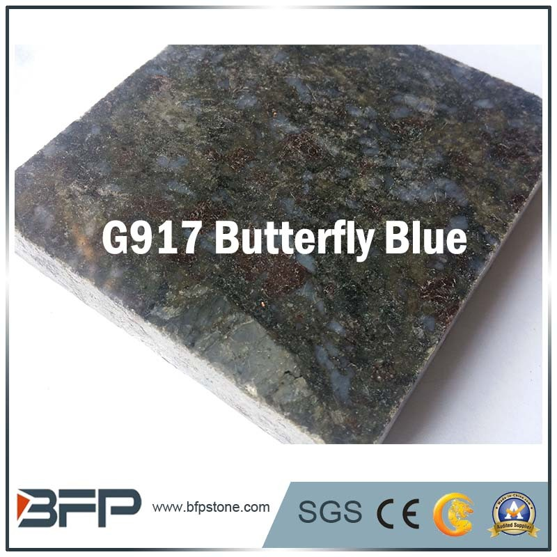 China Butterfly Blue Granite Stone Floor Tile For Projects