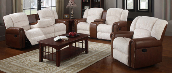 China Reclining Sofas With Tea Table Sofa Set Fabric Recliner Living Room 3 2 1 Leather