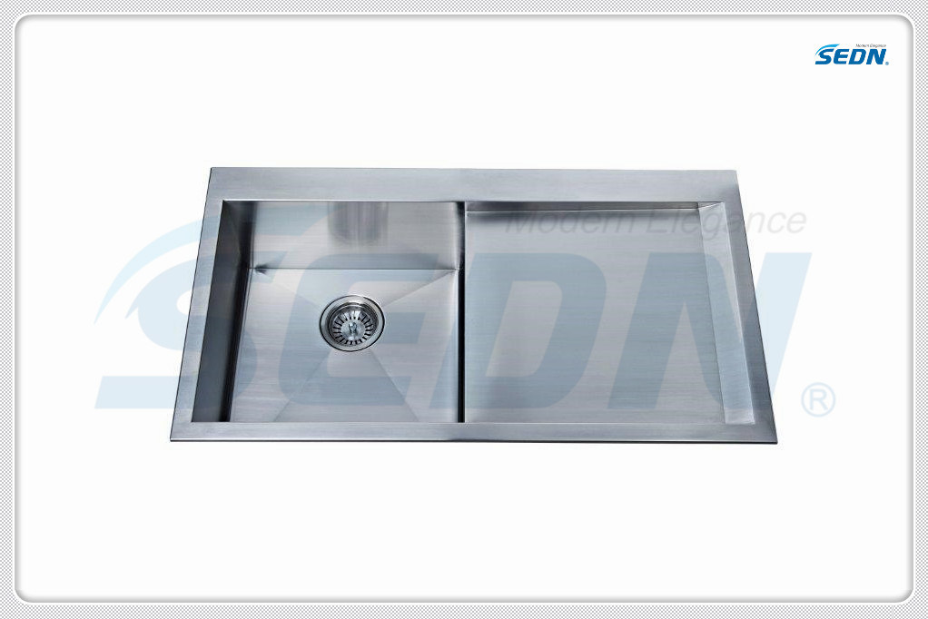 Handmade Single Bowl Stainless Steel Sinks with Drainer (SA3002)