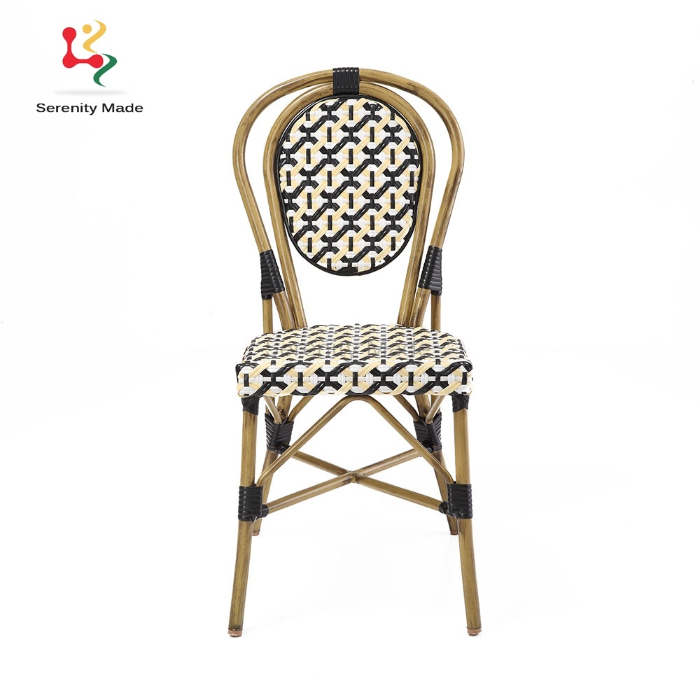 China Outdoor Furniture French Bistro Synthetic Woven Rattan Cafe