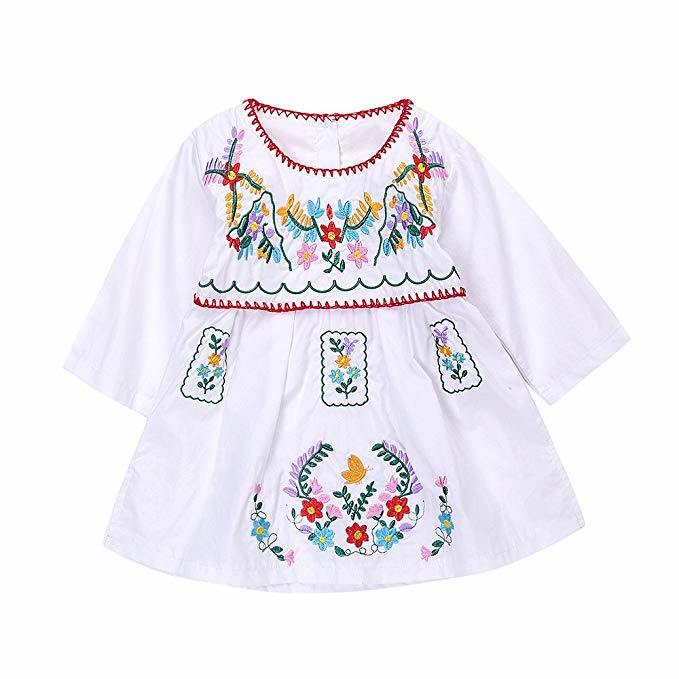 11a8ddc9caf8 China Toddler Baby Girls White Summer Ethnic Embroidery Floral Dress Party  Sundress Skirt - China Baby Clothes, Kid′s Product