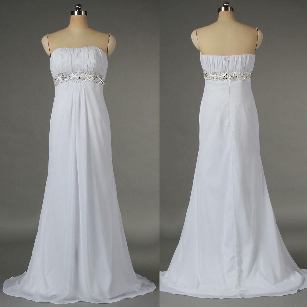 Hot Item Women Girls Elegant 2019 White Chiffon Beaded Beach Wedding Dresses Bridal Gown