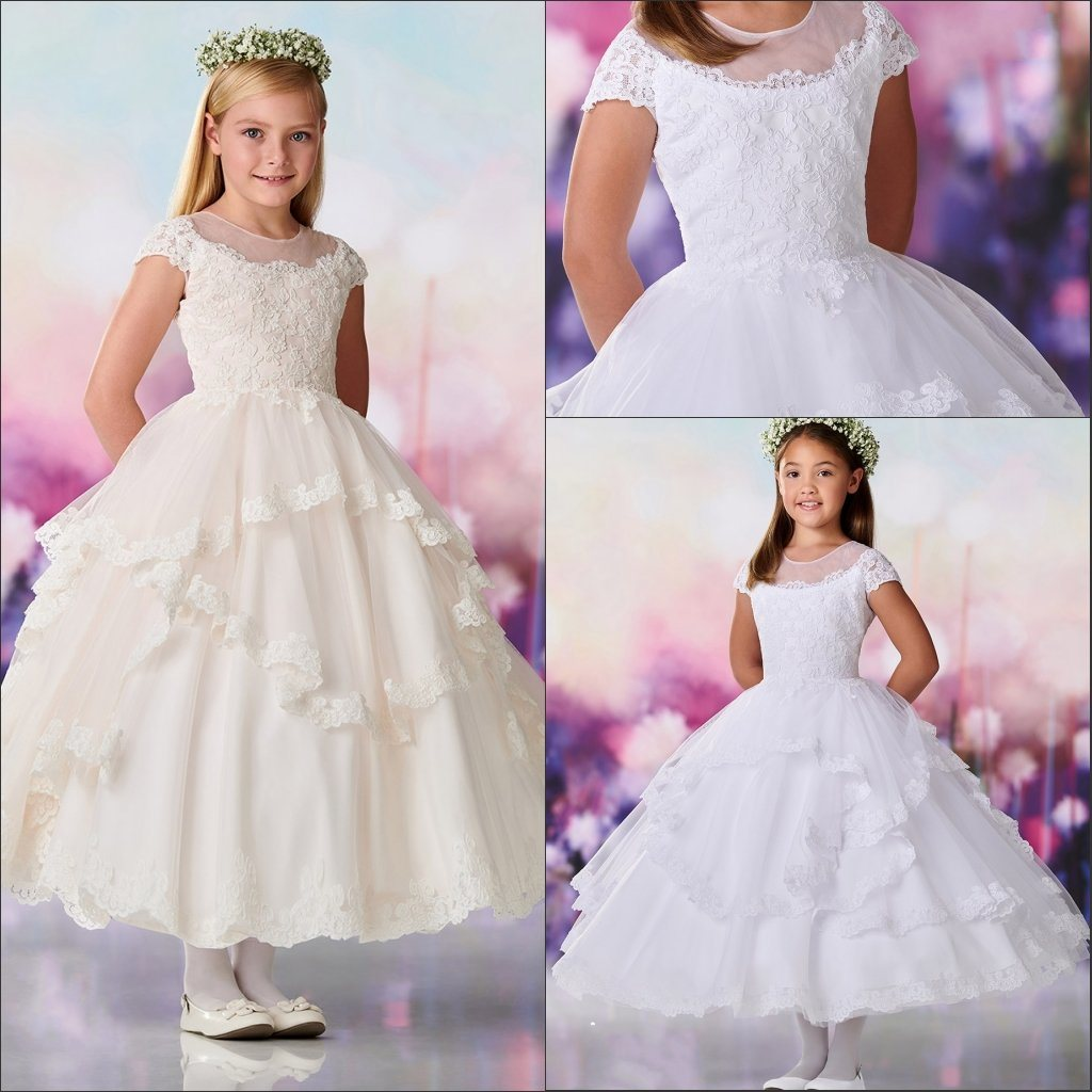 China Lace Tulle Junior Bridesmaid Dresses Sleeveless Flower