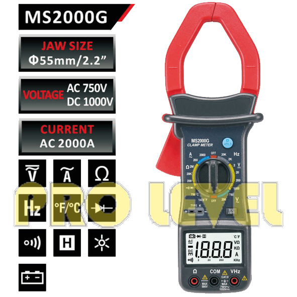 Digital AC and DC Clamp Meter (MS2000G)