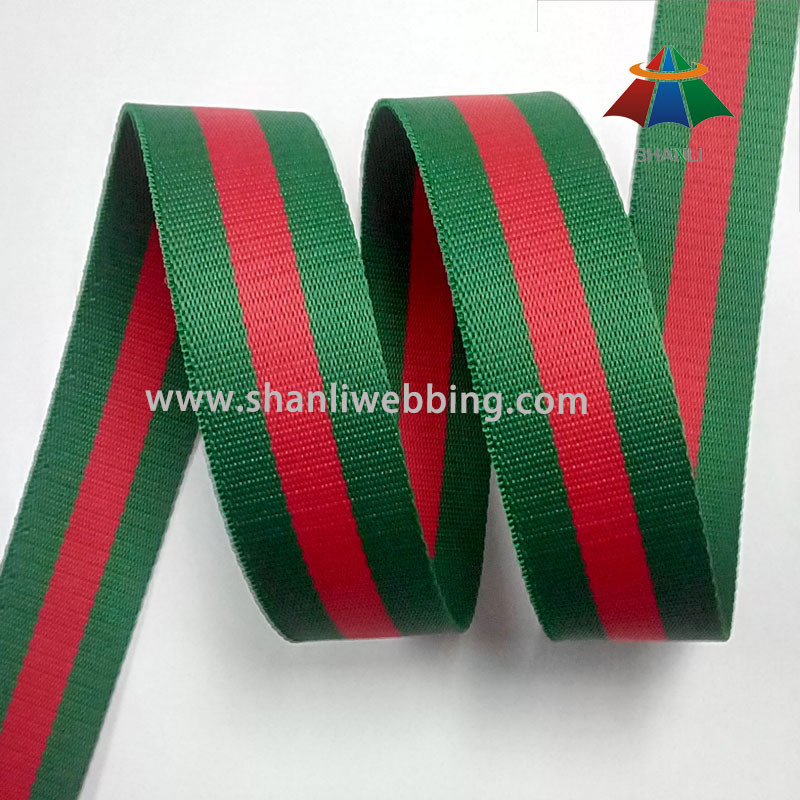 38mm Green Red Striped Polyester Webbing