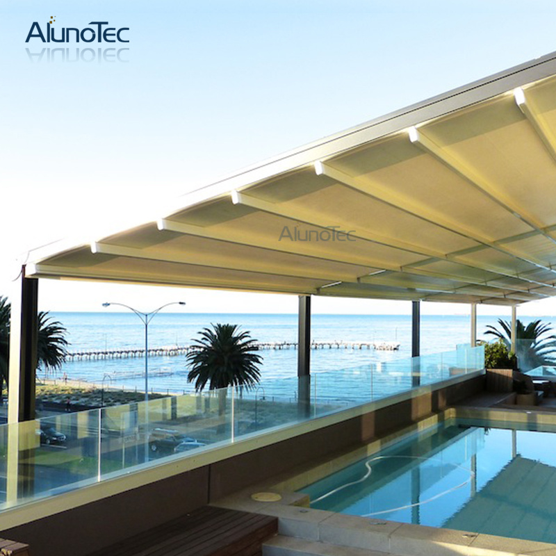 [Hot Item] Alunotec Retractable Gazebo with LED Lights Swimming Pool  Retracable Awning Pavilion
