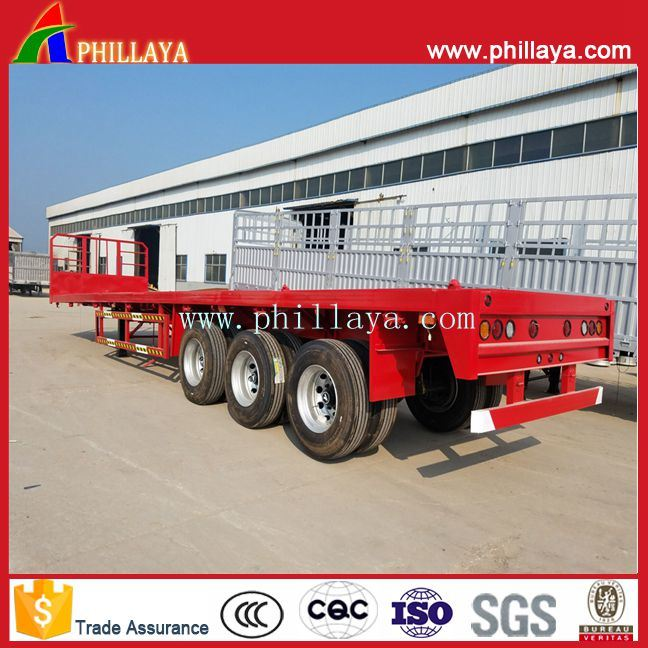 3-Tri-Axle 20-40FT 40-60ton High-Bed Platform Truck Flatbed Container Semi Trailer pictures & photos