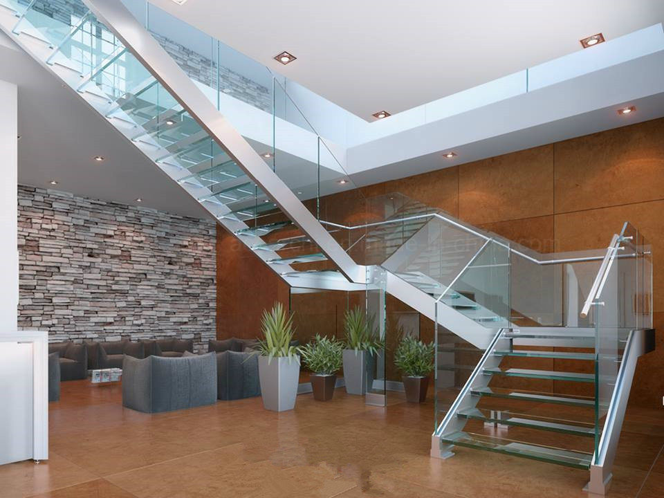China Custom Double Stringer Stair Designs/Glass Staircase ...