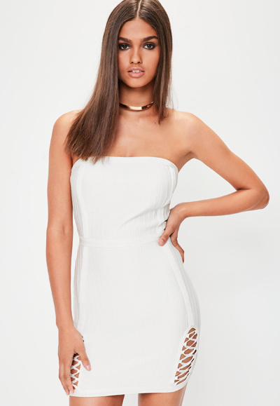 Luxury Strapless Dress White