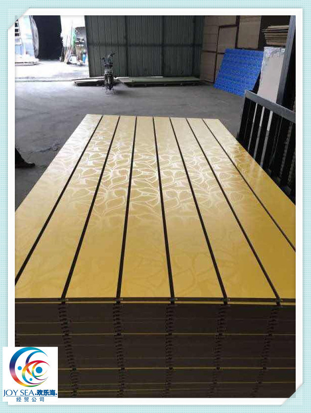 Plain or Melamine Film Faced MDF Slotted MDF with Groove pictures & photos