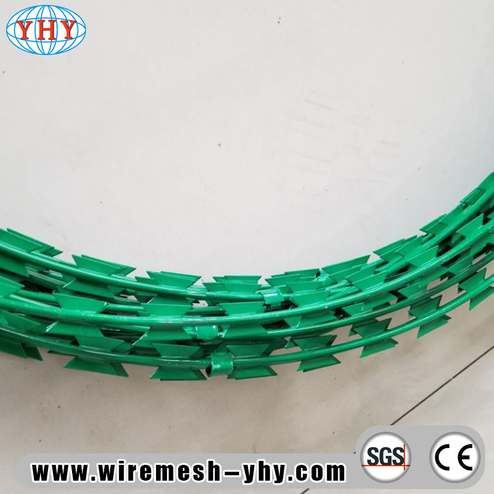 China Green PVC Painting Razor Barbed Iron Wire Photos & Pictures ...