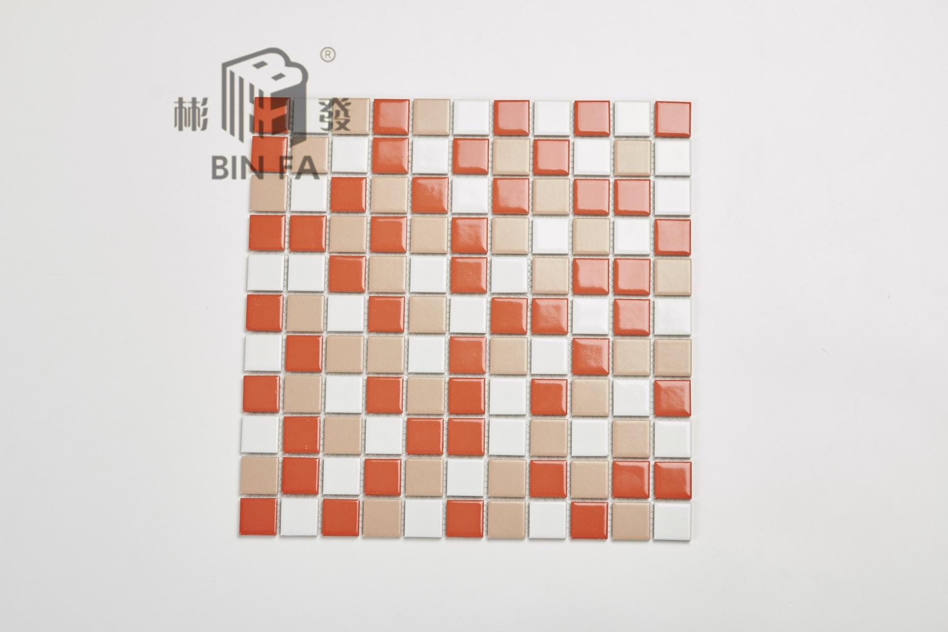 China 23*23mm Colorful (orange, red, yellow, white) Ceramic Mosaic ...