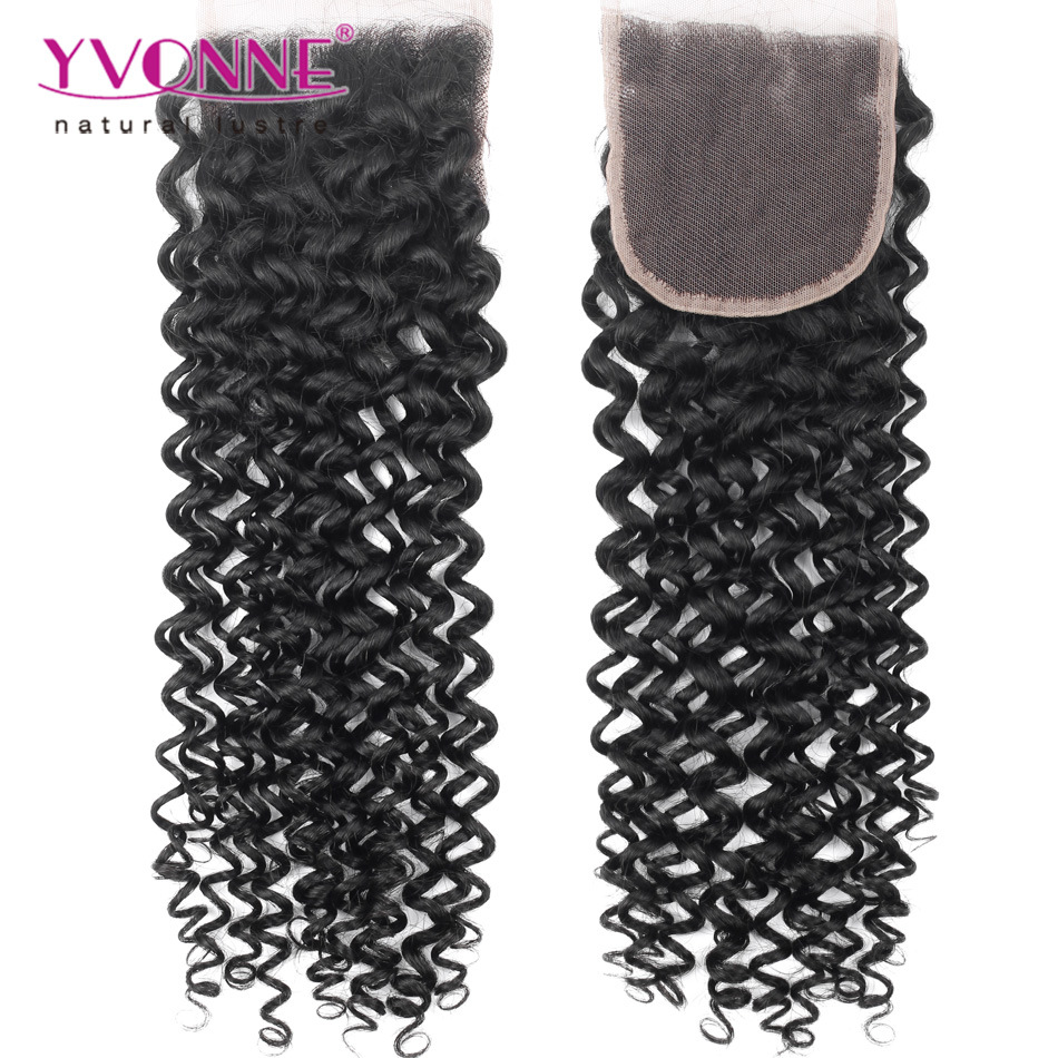 China Best Selling Brazilian Hair Top Closure 44 Malaysian Curly
