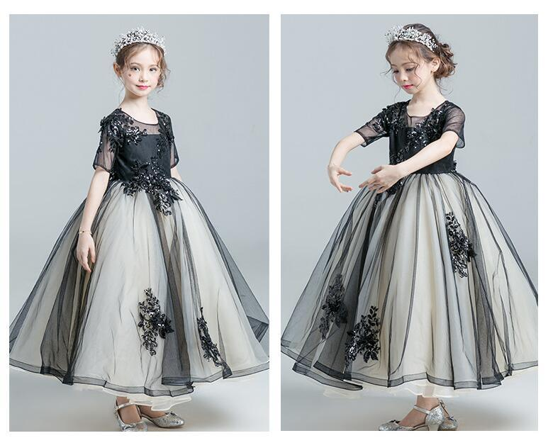 China Black Prom Dresses Flower Girl Dress Short Sleeves Lace Girl′s ...