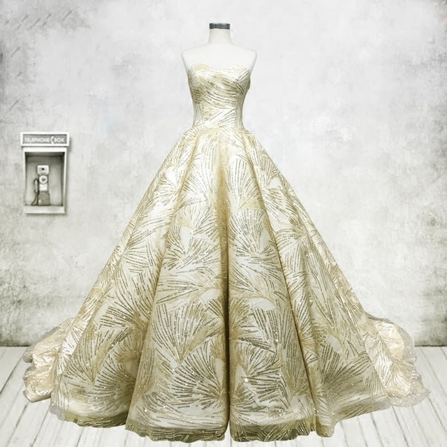 China Strapless Bridal Ball Gown Gold Lace A-Line Puffy Wedding ...