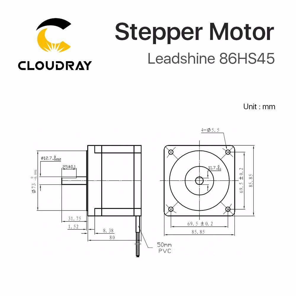 China Cloudray Leadshine 2 Phase Stepper Motor 86hs45 For Laser Machine Photos Pictures Made In China Com