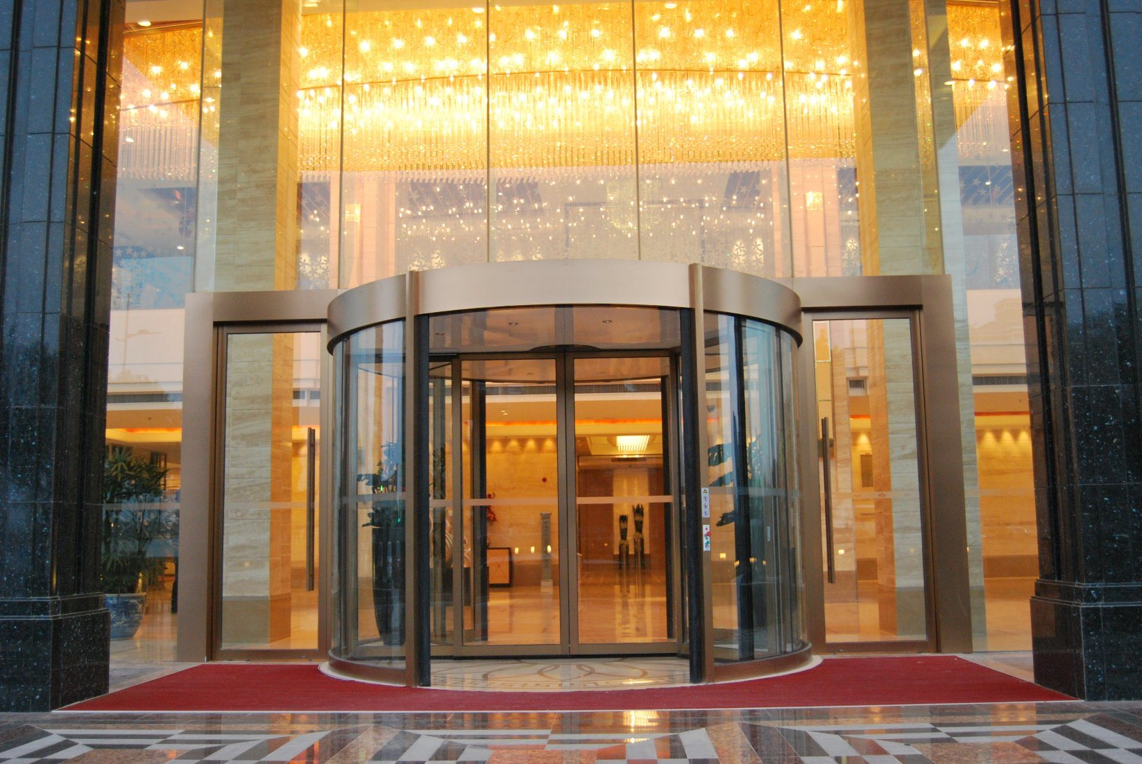 China Decorative Entrance Glass Doors For Hotel With Frame China