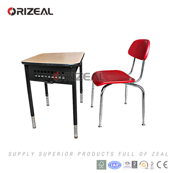 Orizeal 2017 New Style Product Height Adjustable Chrome Frame Single School Desk and Chair pictures & photos