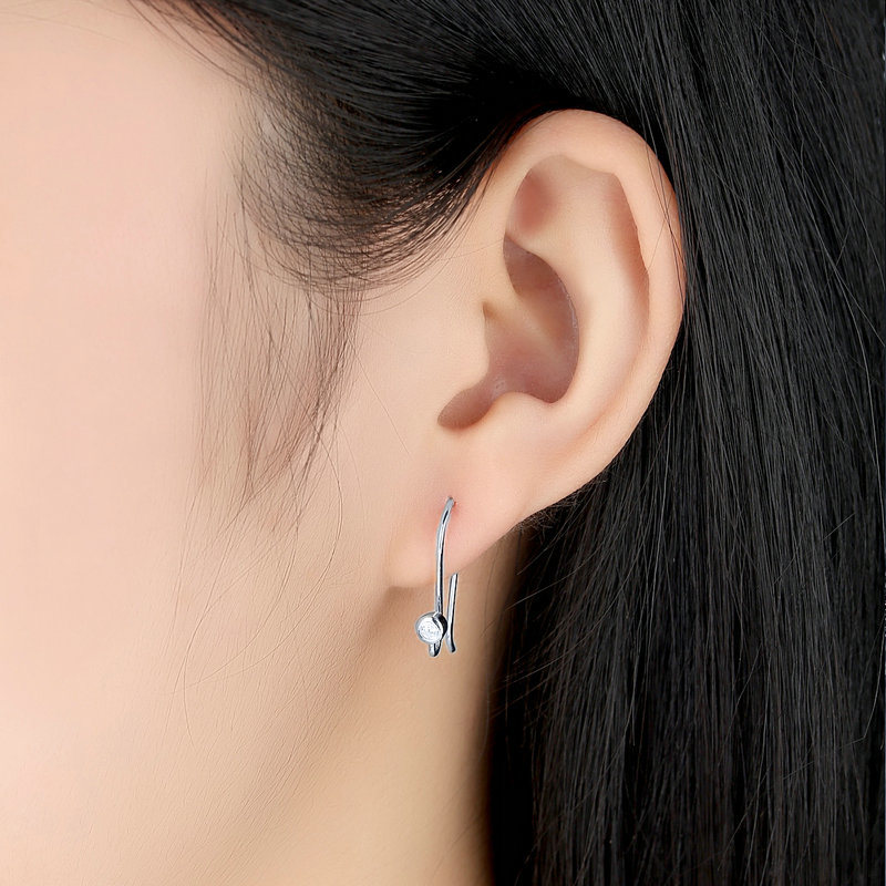 New Post Earrings, Clear CZ & Silver for Women Drop Earrings