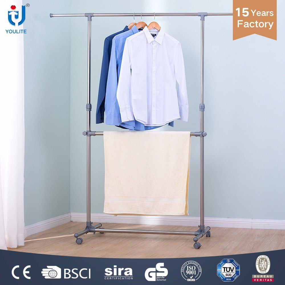 China Extendable Garment Rack Stainless Steel Double Layer ...