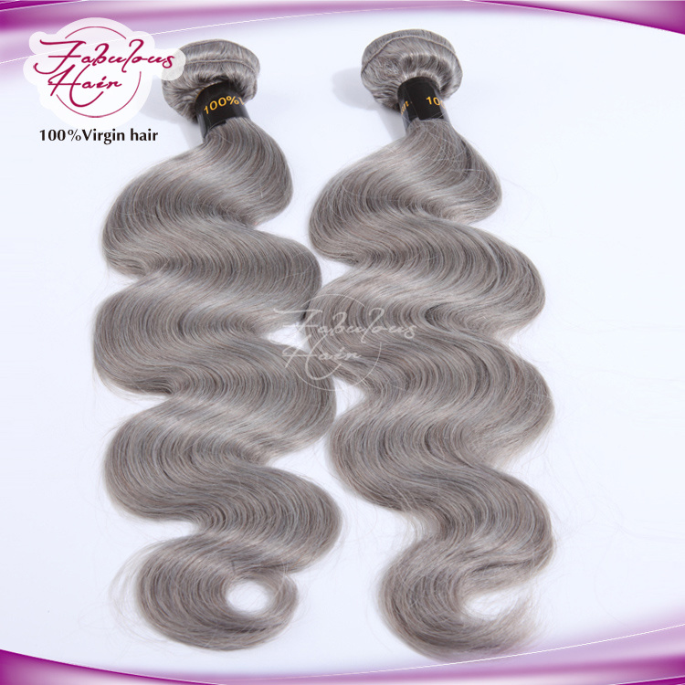 China No Bad Smell Silver Color Body Wave Brazilian Grey Remy Hair