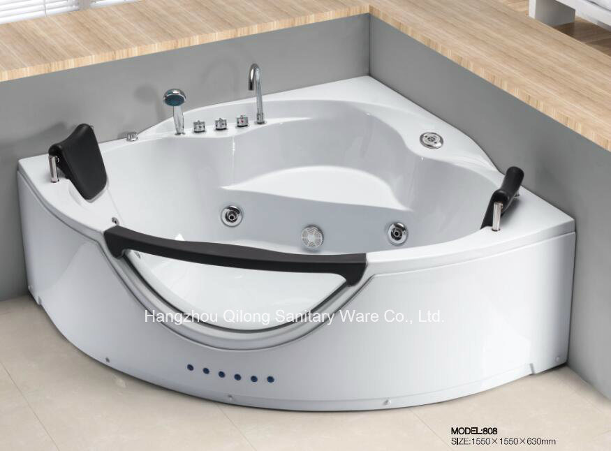 China Corner Massage Bathtub SPA with Front Glass for 2 Person ...