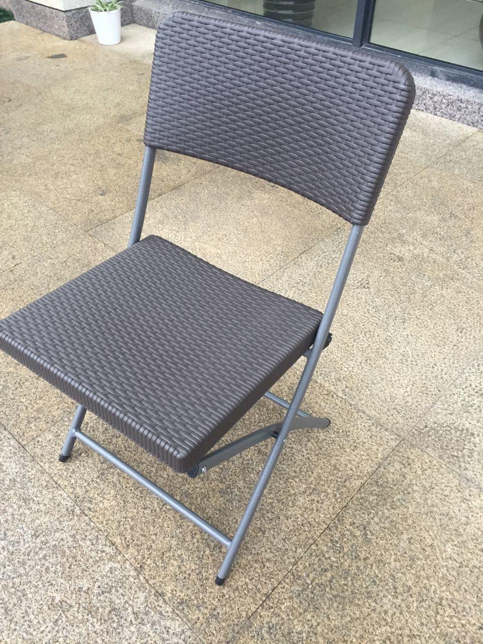 china wholesale new imitation rattan plastic folding chair garden