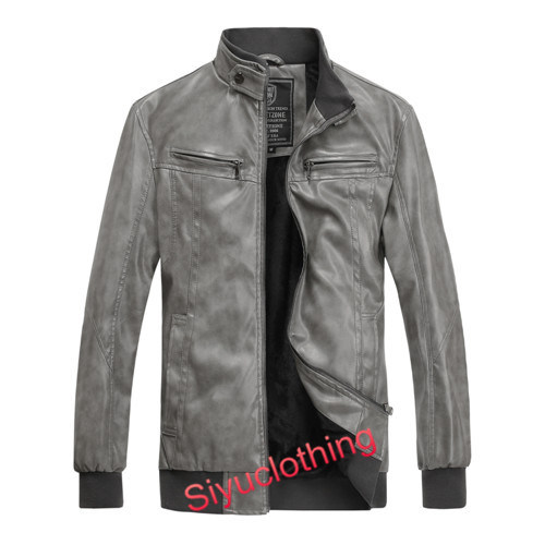 Men Leather Casual Fashion Clothing Waterproof Jacket (J-1617)