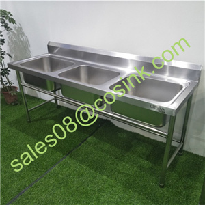China Factory 201 304 Industrial Freestanding Commercial Stainless Steel  Kitchen Sink   China Double Bowl Sink, Stainless Steel Sink