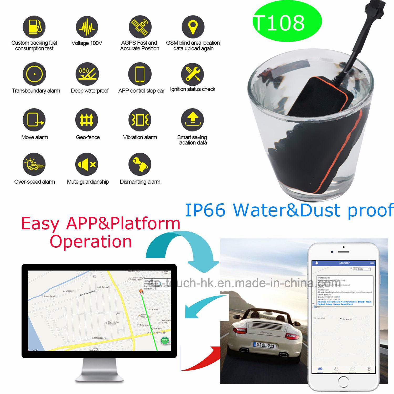China GSM SIM Card Vehicle GPS Tracker with Vibration Alarm