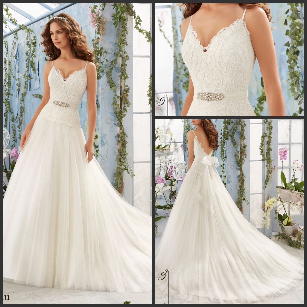 China Lace Tulle Princess Bridal Gown A-Line Simple V-Neck