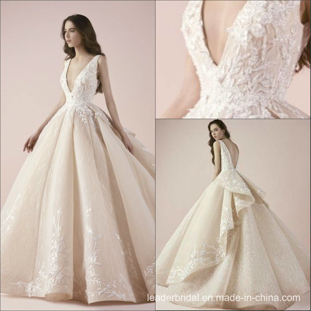China Deep V-Neck Bridal Ball Gown Lace Tulle Wedding