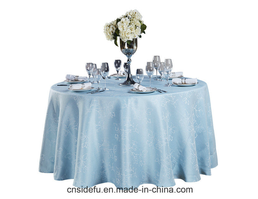 Hotel Wedding Light Blue Polyester Jacquard Luxury Linen Tablecloth Round pictures & photos