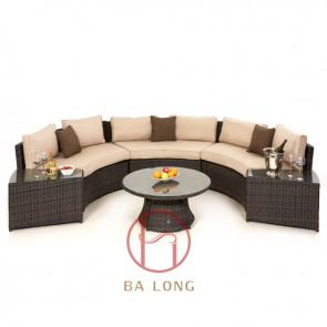 [Hot Item] Outdoor Garden Rattan Wicker Half Moon Corner Sofa Set