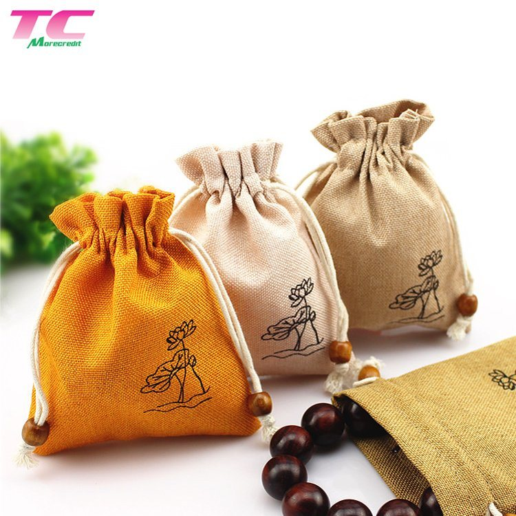Jewellery Carry Bag Reusable Jewelry Gift Bags Small Jute Hemp Drawstring Burlap Gunny Bags with Wood Beads