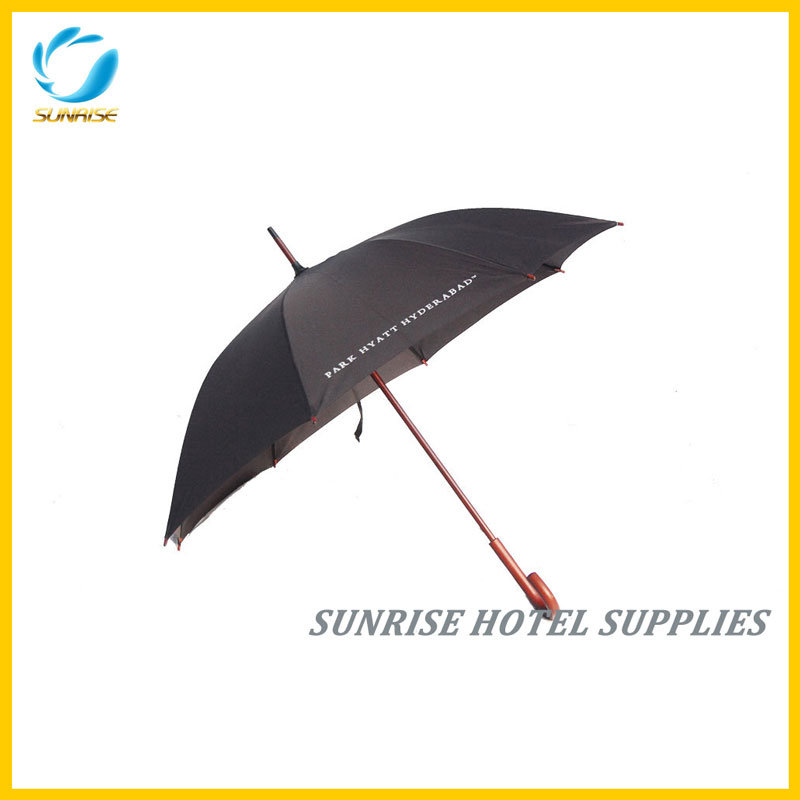 High Quality Round Wood Crook Handle Umbrella for Hotel pictures & photos