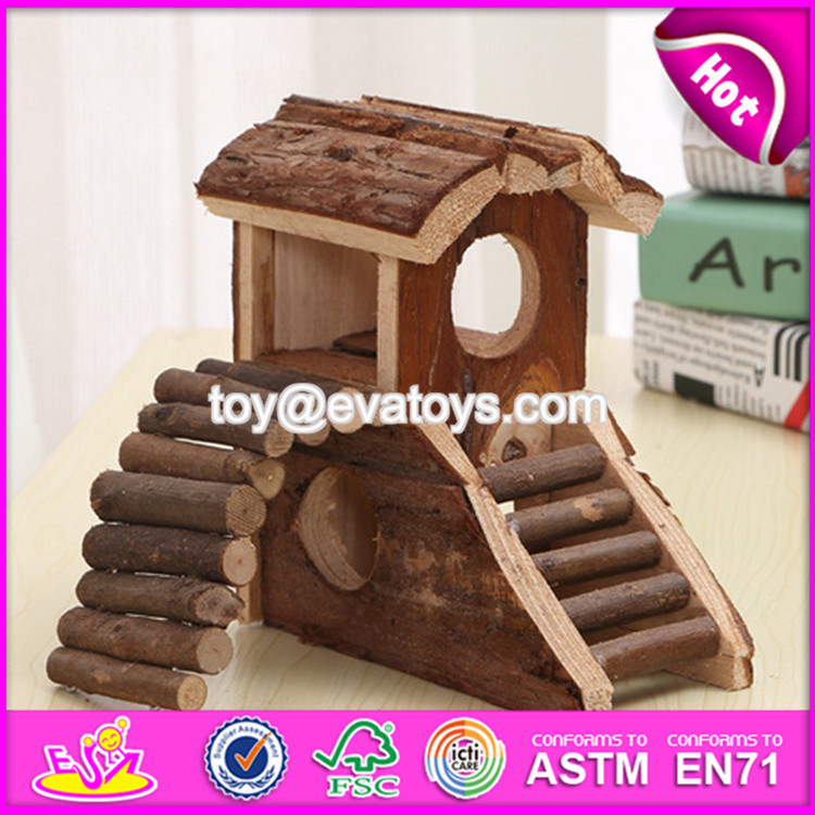 New Products Indoor Pet Funny Homes Nature Wooden Hamster House W06f018
