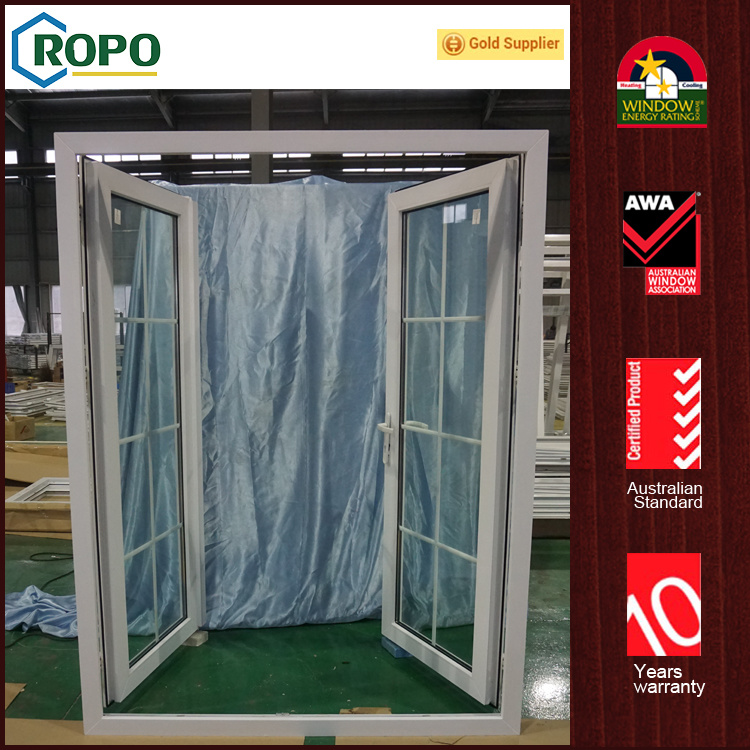 China Upvc Hurricane Impact Glass Casement Door Entry Colonial Bar
