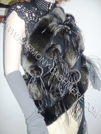 Cashmere Shawl with Rex Rabbit Trim and Ostrich Feather Flower