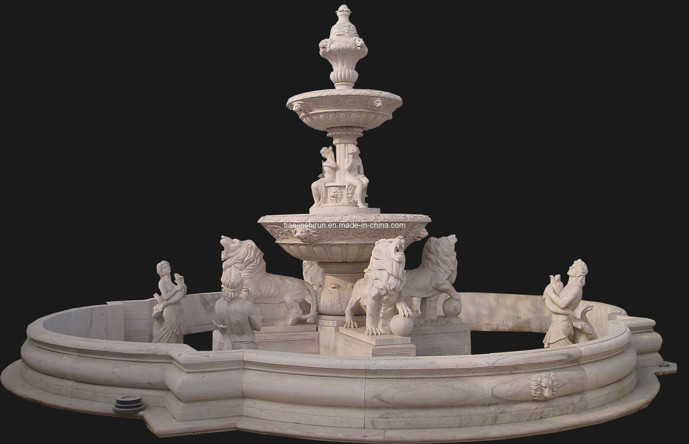 Triple Tier Water Feature & Pool Surround - Large Stone