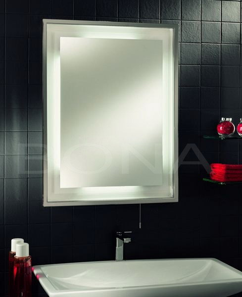 china fluorescent bathroom mirror with stainless steel frame in polished chrome finish. Black Bedroom Furniture Sets. Home Design Ideas