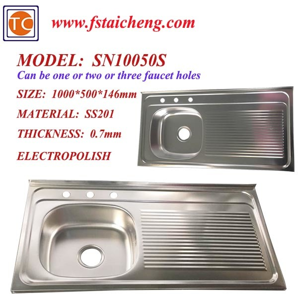 China Size 1000x500mm Single Bowl Kitchen Sink With Drainboard With One Piece Pressing China Single Bowl Kitchen Sink With Drainboard Single Bowl Stainless Steel Sink With Drainboard
