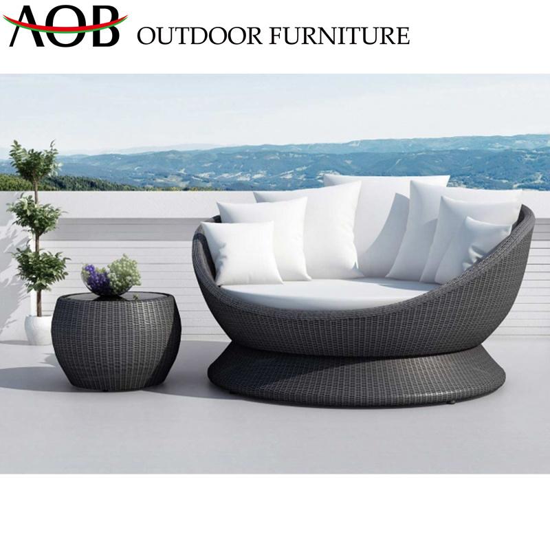 [Hot Item] Modern Outdoor Garden Hotel Patio Villa Rattan Wicker Furniture  Round Sofa Bed Daybed Sunbed