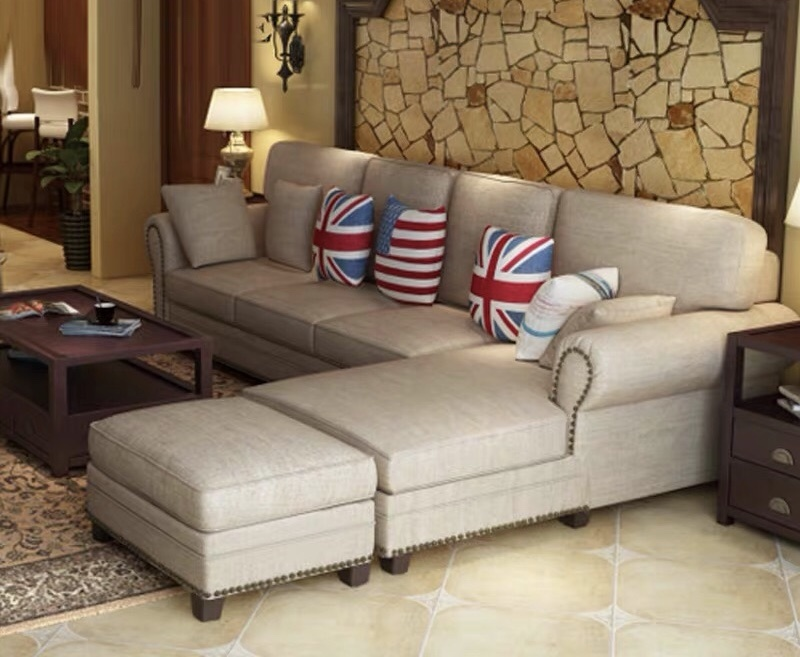 China American Style Luxury High Quality Upholstery 3 Seat Brown Leather L Shape Sofa For Living Room China Living Room Sofa Leather Sofa