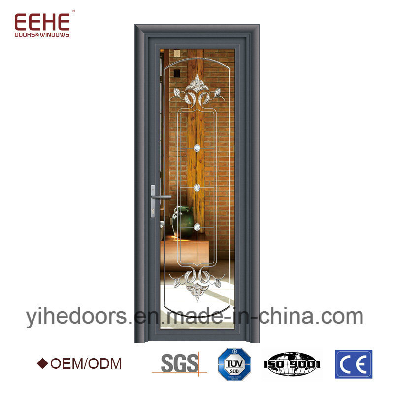China Frosted Tempered Glass Aluminum Door With Optional Frame Color