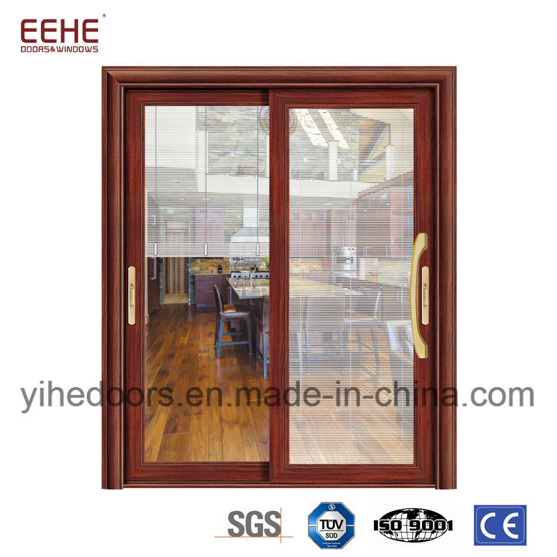 China High Quality Aluminum Soundproof Glass Door With Shutter