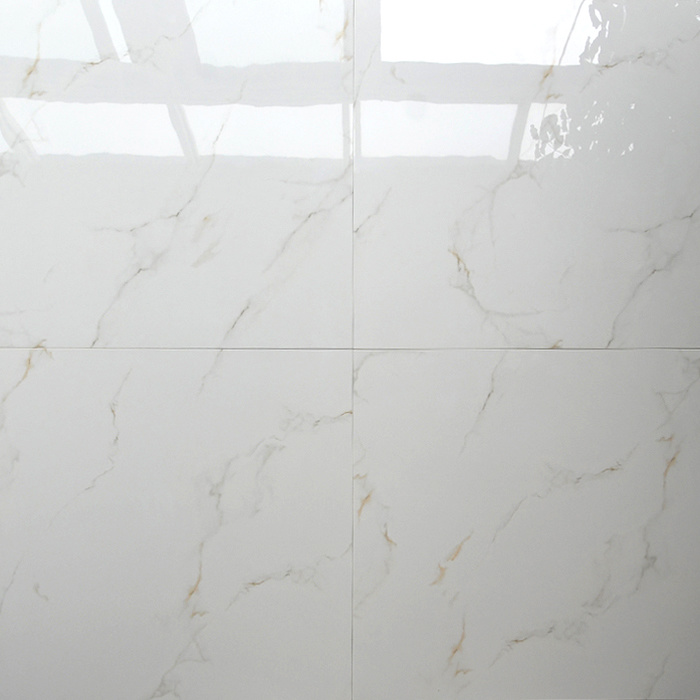 China White Colour Glossy Marble Look Glazed Italian Porcelain