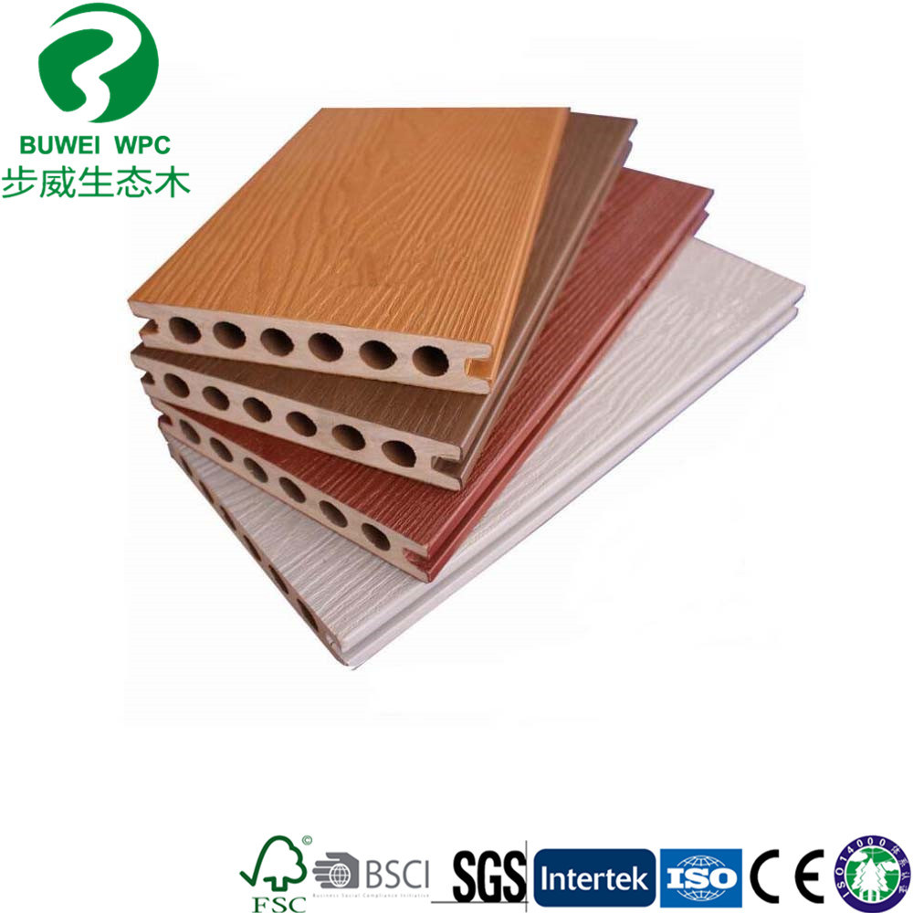 China Round Hole Outdoor Pvc Co Extrusion Flooring Wpc Decking Wood Plastic Composite