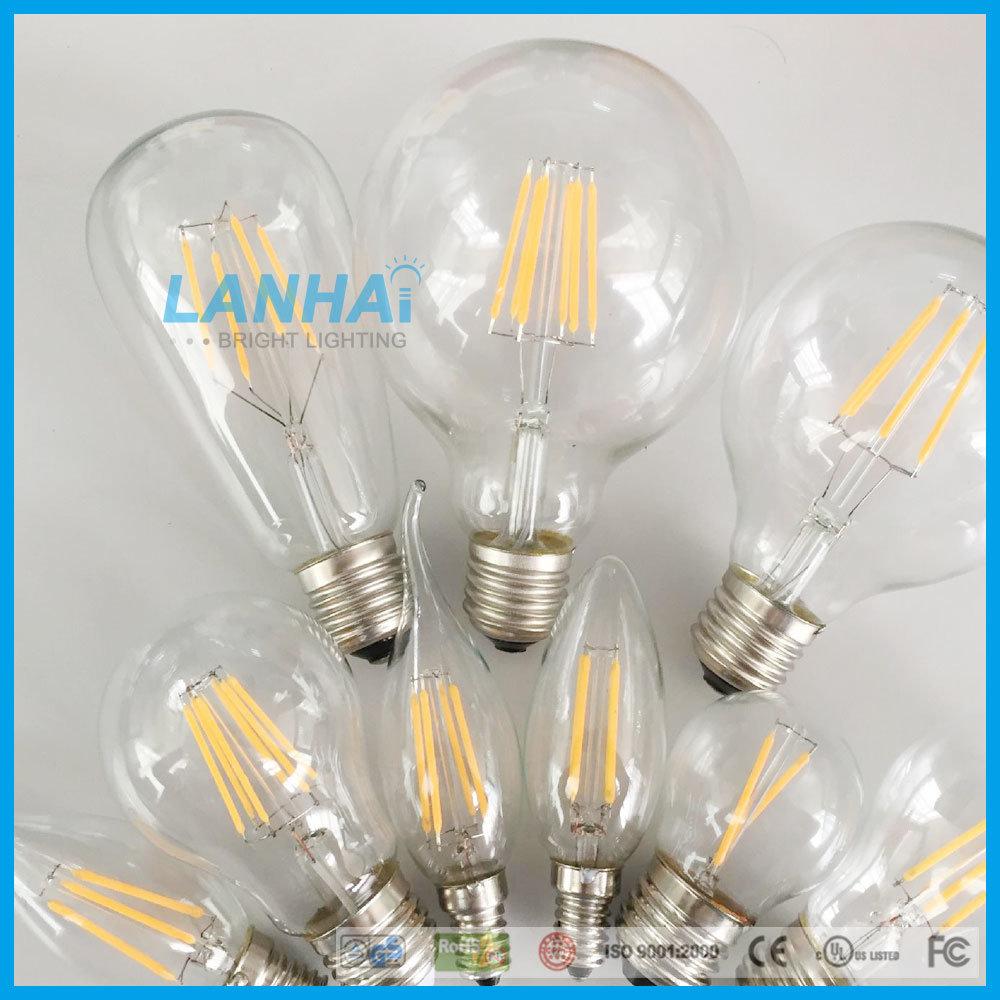 China G95 Glass 4w E27 B22 110v 230v Vintage Led Filament Bulb 12v Fluorescent Lamp Driver